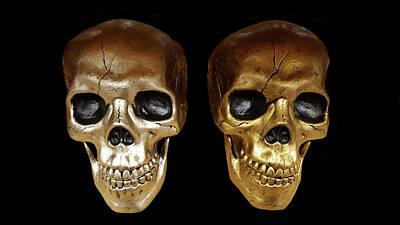 Human Head Digital Art - Silver And Golden Skulls by Art Spectrum