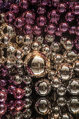 Silver And Purple Christmas Balls Art Print by Jenny Rainbow
