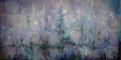 Tile Painting - Silver And Silent by Shadia Derbyshire