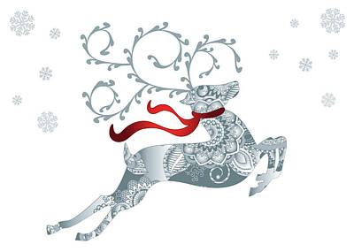 Digital Art - Silver And White Reindeer by Serena King