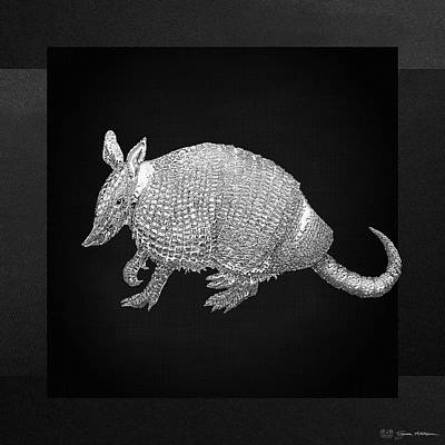 Digital Art - Silver Armadillo On Black Canvas by Serge Averbukh