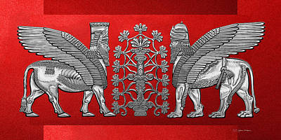 Digital Art - Silver Assyrian Winged Lion And Winged Bull - Lumasi With Tree Of Life Over Red Canvas by Serge Averbukh
