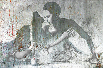 Mixed Media - Silver Ballet Dancer Sitting  by Tony Rubino
