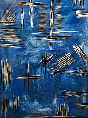 Painting - Silver/blue/black Metallic Abstract Painting by Renee Anderson