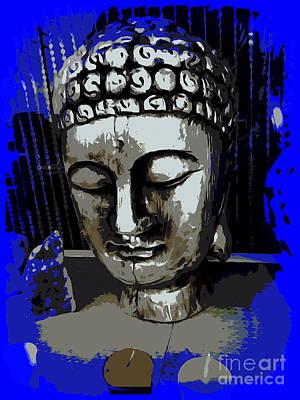 Digital Art - Silver Buddha by Ed Weidman