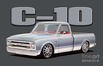 Chevy C10 Digital Art - Silver Bullet by Paul Kuras