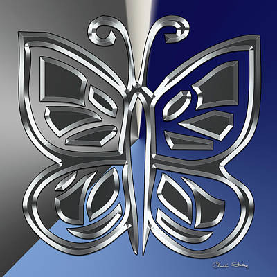 Digital Art - Silver Butterfly by Chuck Staley