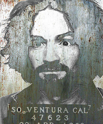 Cult Mixed Media - Silver Charles Manson Mug Shot 1969 Vertical  by Tony Rubino