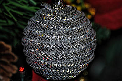 Photograph - Silver Christmas Ornament by Isam Awad
