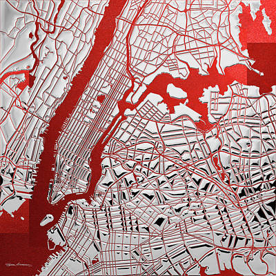 Digital Art - Silver Cities - Silver City Map New York On Red by Serge Averbukh