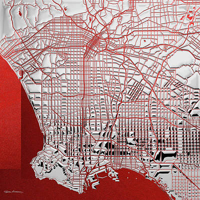Digital Art - Silver Cities - Silver City Map Of Los Angeles On Red by Serge Averbukh