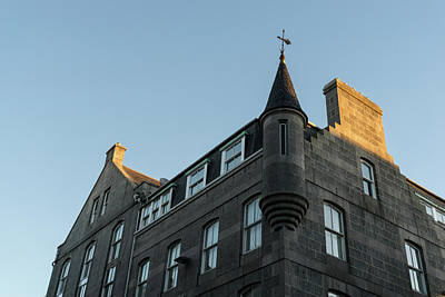 Photograph - Silver City Architecture - Aberdeen Facade With A Whimsical Tower At Sunrise by Georgia Mizuleva