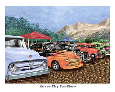 Painting - Silver City Car Show by Jack Pumphrey