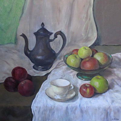 Silver Coffeepot, Apples, Green Footed Bowl, Teacup, Saucer Original