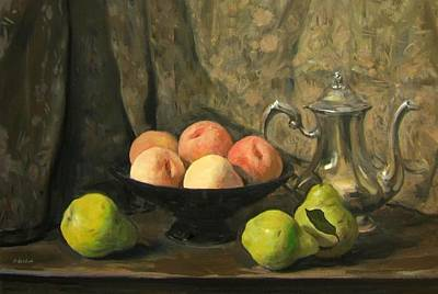 Painting - Silver Coffeepot, Black Footed Bowl And Fruit by Robert Holden