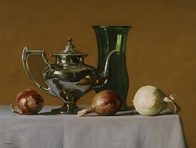 Painting - Silver Teapot, Green Vase And Three Onions by Robert Holden