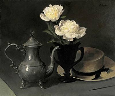 Painting - Silver Coffeepot, Peonies And Amish Straw Hat by Robert Holden