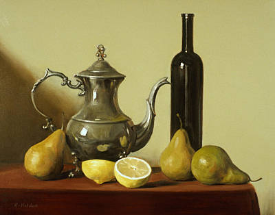 Painting - Silver Coffeepot,wine Bottle, Pears And Lemons by Robert Holden