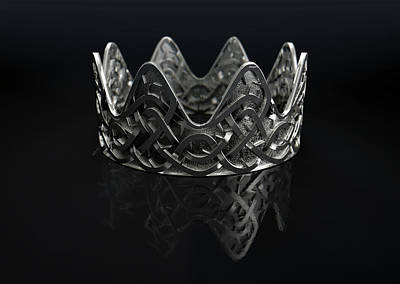 Silver Crown With Thorn Patterns Art Print