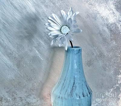 Shower Digital Art - Silver Daisy Whimsical Flower by Marsha Heiken