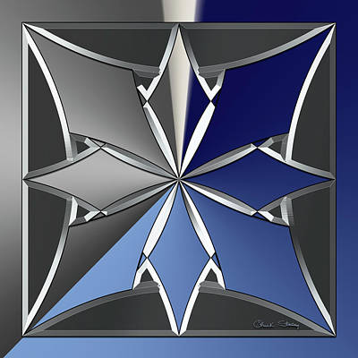 Digital Art - Silver Design 1 by Chuck Staley