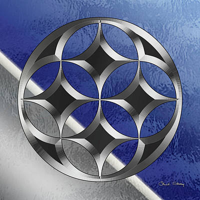Digital Art - Silver Design 21 On Glass by Chuck Staley