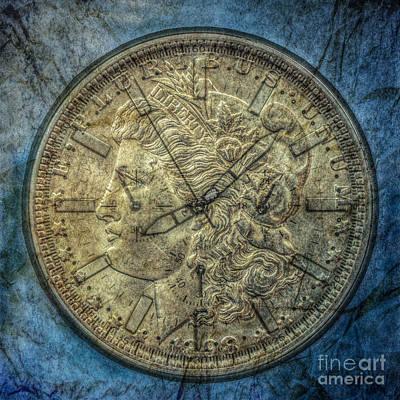 Book Collecting Digital Art - Silver Dollar Clock by Randy Steele