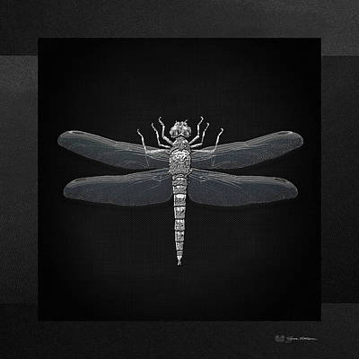 Libellule Digital Art - Silver Dragonfly On Black Canvas by Serge Averbukh