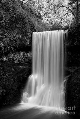 Photograph - Silver Falls Lower South Black And White by Adam Jewell