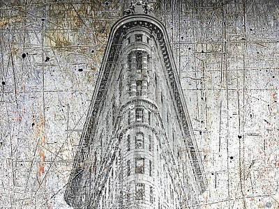 Past Mixed Media - Silver Flatiron Building by Tony Rubino
