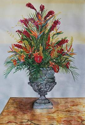 Marble Top Table Painting - Silver Floral by Phyllis Barrett