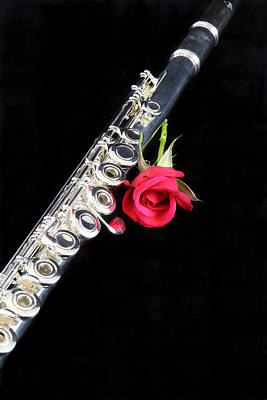 Silver Flute Red Rose Art Print
