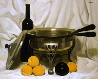 Painting - Silver Food Warmer And Fruit by Robert Holden