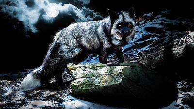 Silver Fox In Moonlight. Art Print by Tracy Munson