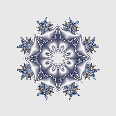 Digital Art - Silver Fractal Snowflake by Ruth Moratz