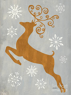 Christmas Greeting Painting - Silver Gold Reindeer by Debbie DeWitt