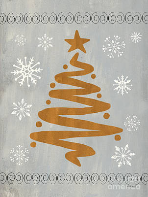 Christmas Greeting Painting - Silver Gold Tree by Debbie DeWitt
