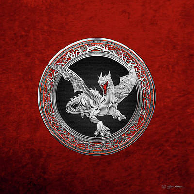 Digital Art - Silver Guardian Dragon Over Red Velvet  by Serge Averbukh