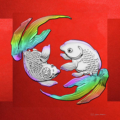 Digital Art - Silver Japanese Koi Goldfish Over Red Canvas by Serge Averbukh