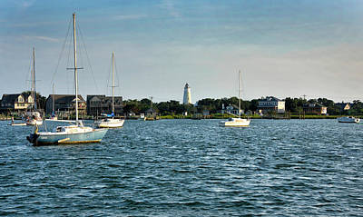 Ocracoke Lighthouse Photograph - Silver Lake And Ocracoke Island Lighthouse by Brendan Reals