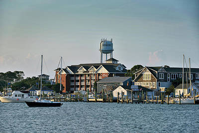 Ocracoke Lighthouse Photograph - Silver Lake And The Ocracoke Water Tower by Brendan Reals