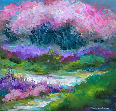 Cherry Blossoms Painting - Silver Lake Cherry Blossoms by Nancy Medina