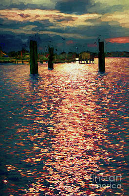Painting - Silver Lake Harbor Ocracoke Island Outer Banks Ap by Dan Carmichael