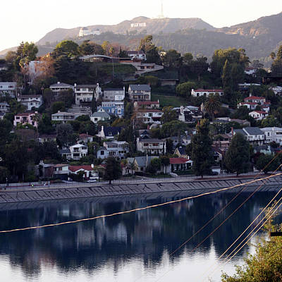 Silver Lake Reservoir And Hollywood Hills Art Print