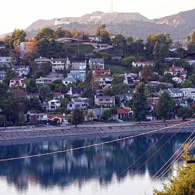 Photograph - Silver Lake Reservoir With Griffith Observatory And Hollywood Sign by Ken Wood
