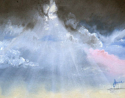 Painting - Silver Lining Behind The Dark Clouds Shining by Nila Jane Autry