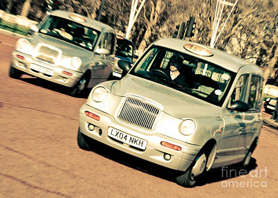 Silver London Taxi Cabs Art Print