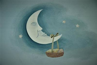 Painting - Silver Moon With Picnic Basket by Suzn Art Memorial