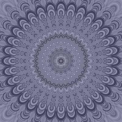 Psychedelic Digital Art - Silver Oval Mandala by David Zydd