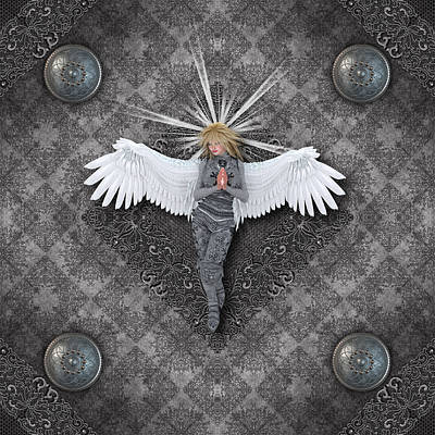 Silver Praying Angel Art Print